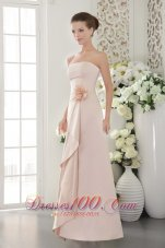 Baby Pink Strapless Hand Made Flower Bridesmaid Dress