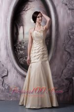 Champagne Halter Ruch Floor-length Bridesmaids Dresses