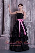 Sash and Pick-ups Bridesmaid Dress Black A-line Strapless