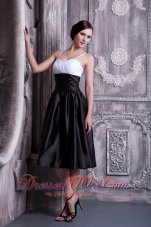 White and Black Ruched Spaghetti Straps Bridesmaid Dress