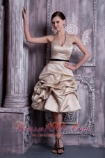 A-line Halter Pick-ups Champagne Maid of Honor Dress
