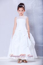 White Pleated Flower Girl Dress Ankle-length