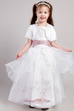 White Ankle Length Embroidery Flower Girl Pageant Dress