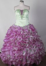 Green and Purple Little Girl Pageant Dress Organza