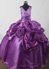 Purple Beading Little Girl Pageant Rolling Flower Dress