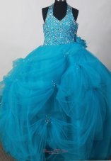Blue Beading Toddler Pageant Dress Hand Made Flowers