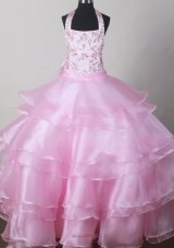 Halter Top Ligh Pink Little Girl Pageant Dresses Embroidery