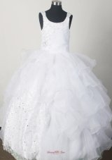 White Little Girl Pageant Dresses With Beading and Rufled Layers