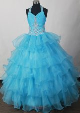 Blue Toddler Pageant dresses Halter Beading and Ruffled Layers