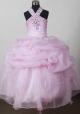 Baby Pink Girl Pageant Dresses with Beading and Pick-ups