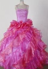 Ruffles Spaghetti Straps Pink Little Girl Pageant Dress