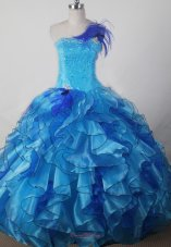 ExquisiteAqua Ruffles Ball Gown Little Girl Pageant Dress Strapless