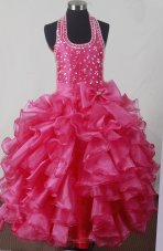 Hot Pink Bowknot Ruffles Luxurious Little Girl Pageant Dress Halter