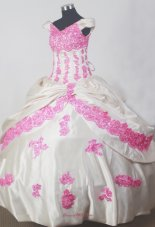 Lace Appliques Off The Shoulder Floor-length Little Girl Pageant Dress