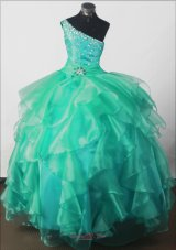 One shoulder Little Girl Pageant Dress Teal Shining Beading
