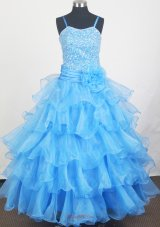 Aqua Blue Hand Made Flowers Pageant Dress With Beads