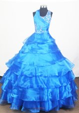 Sapphire Blue Little Girl Pageant Dress With Layers