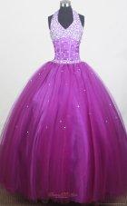 Beaded Halter Discount Little Girl Pageant Dress 2013