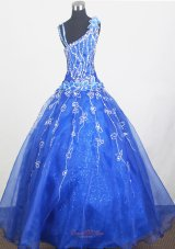Royal Blue Little Girl Pageant Dress Hand Made Flowers