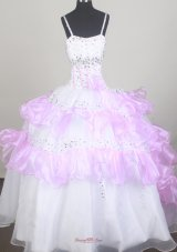White and Pink Little Girl Pageant Dresses with Layers