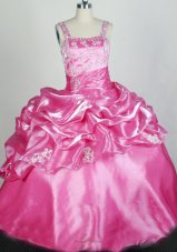 Rose Pink Appliqes Soft Organza Little Girl Pageant Dresses