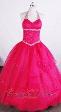 Hot Pink Halter Basque Flower Girl Pageant Dress
