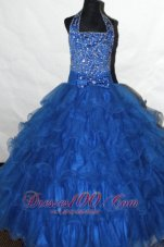 Royal Blue Beading Ruffled Flower Girl Pageant Dress