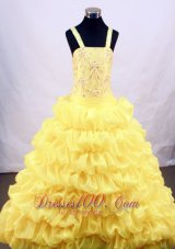 Bright Yellow Flower Girl Pageant Dress With Pick-ups