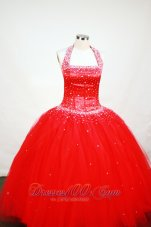 Bright Red Halter Top Beading Flower Girl Dress