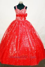 Elegant Sequin Red Pageant Dress With Belt Sweetheart