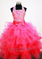 Popular Hot Pink Halter Beading Ruffles Layers Pageant Dress