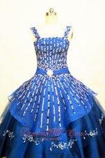 Organza Royal Blue Straps Pageant Dress Beading