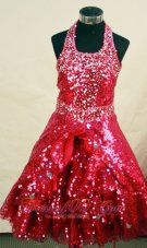 Red Custom Made Sequin Glitz Pageant Dress