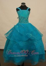 Beautiful Teal Pageant Dress Beading Straps 2014