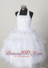 White Halter Ball Gown Pageant Dress for Little Girls Bead