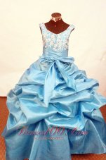 Scoop Baby Blue Appliques Pageant Ball Gowns With Sash