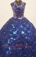 Floral Dark Blue Pageant Dresses Sequined Halter Crystals