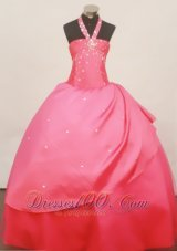 Beaded Halter Coral Red 2013 Little Girl Pageant Dress