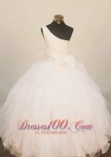 One Shoulder Bow Little Miss Pageant Dresses White