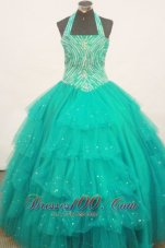 Teal Heavy Beaded Pageant Gowns Halter Top Layeres