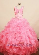 Best Blush Pink Ruffled Dress for Pageants Appliques Design