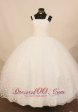 Princess White Straps Pageant Gowns Beaded for Little Girls