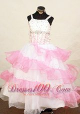 Pretty Pink and White Pageant Dress Beaded With Ruffles