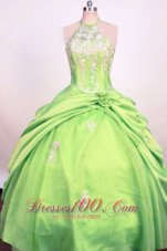 High Neck Halter Spring Green Ball Gown for Pageants