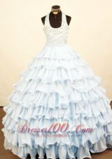 Cascading Ruffles Halter Pageant Dress for Birthday Bead