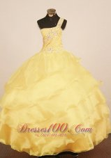 One Shulder Beaded Yellow Pageant Gowns Tiered for Girls