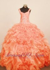Ruffled Orange Red Pageant Ball Gowns Strap Appliques