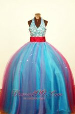 Heavy Sequined Empire Blue Pageant Dress Halter Sash