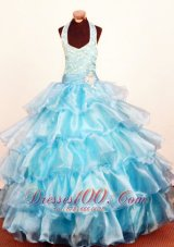Crystal Brooch Baby Blue Pageant Gowns Ruffled Bead Layer