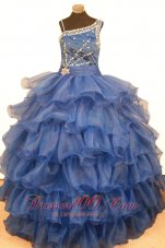 Cascading Ruffles Blue Pageant Gowns Asymmetrical Beaded